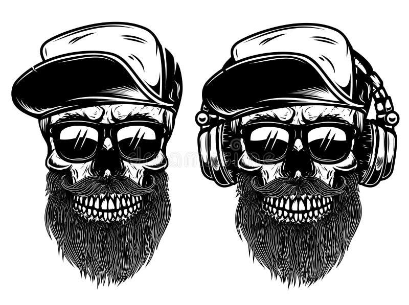 有sunglases、棒球帽和耳机的人的头骨 设计商标的,标签,象征,标志元素 皇族释放例证