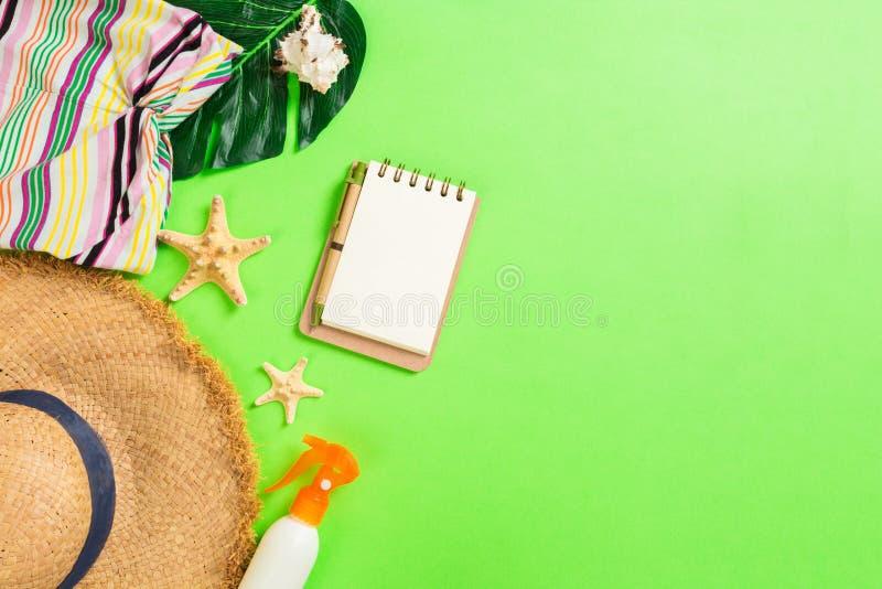 有T恤杉、贝壳、触发器遮光剂瓶和草帽的夏天辅助部件在绿色背景顶视图平的位置 免版税库存照片