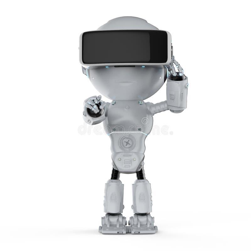 有vr耳机的微型机器人 库存例证