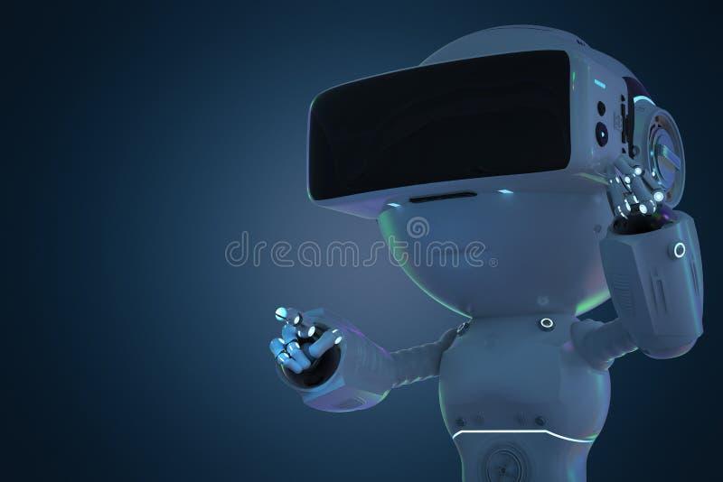 有vr耳机的微型机器人 皇族释放例证