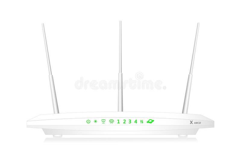 有WAN口岸和4个LAN口岸的双波段无线苏荷区路由器 路由器有3个天线 白色颜色 向量例证