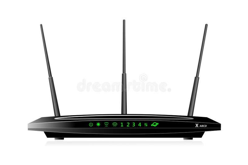 有WAN口岸和4个LAN口岸的双波段无线苏荷区路由器 路由器有3个天线 黑颜色 向量例证