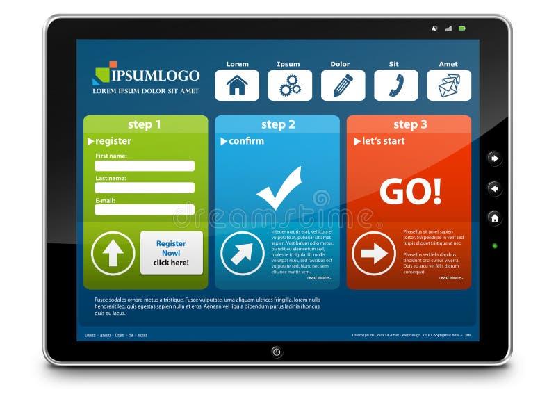 有Webdesign模板的片剂个人计算机 库存例证