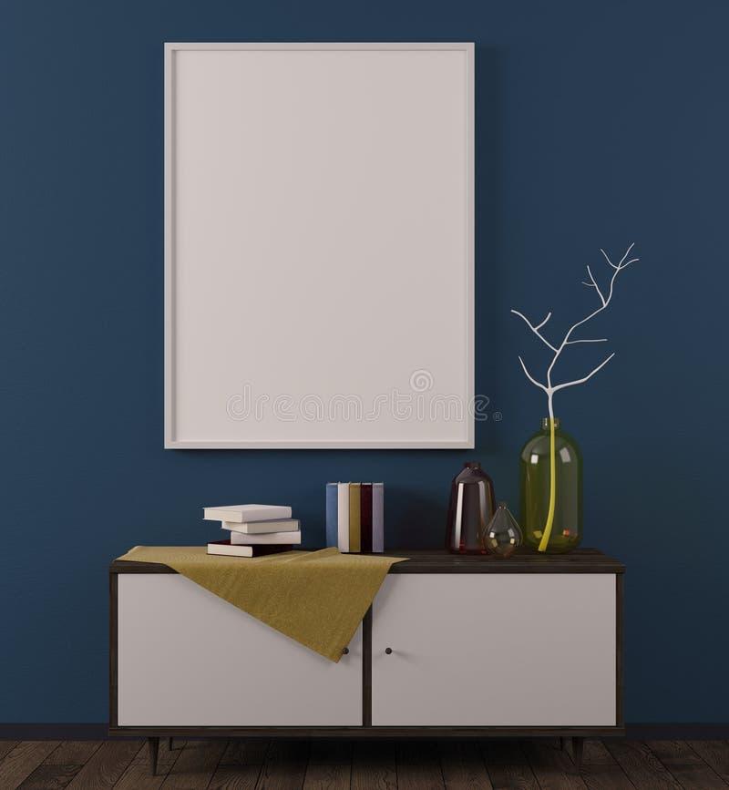 有whiteboard的舒适斯堪的纳维亚室 向量例证