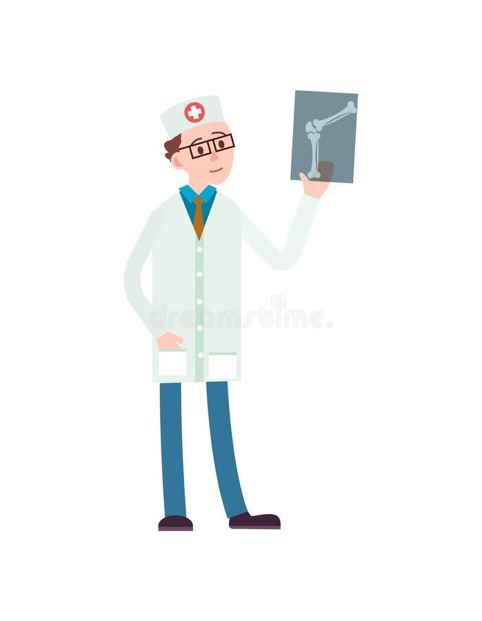 有X-射线象的年轻医生 向量例证