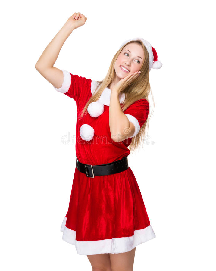 有x mas礼服的愉快的妇女 免版税库存照片