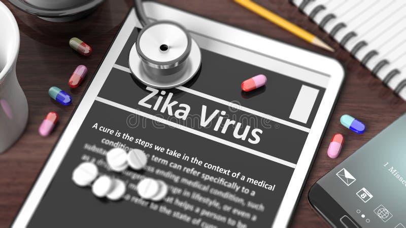 有Zika病毒的片剂在屏幕上 皇族释放例证