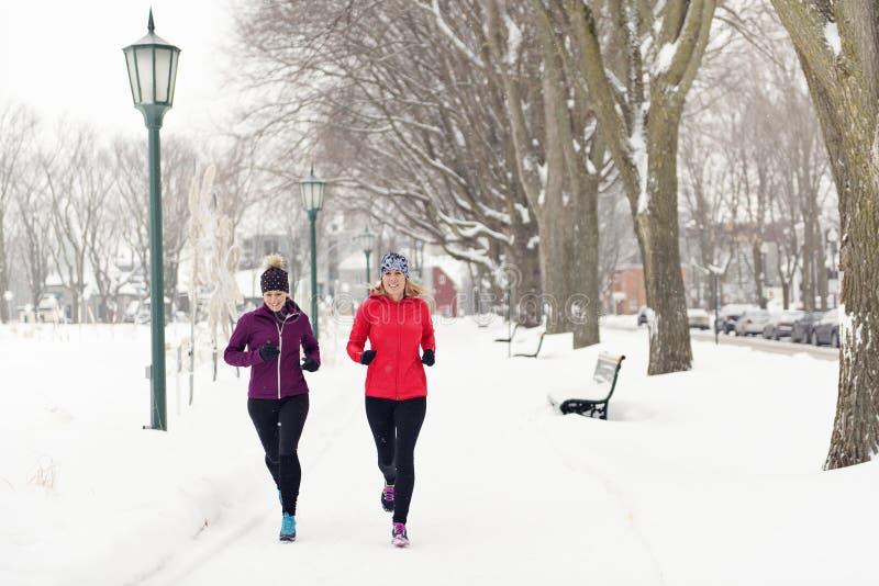 朋友享用跑步在雪的小组在冬天 免版税库存照片