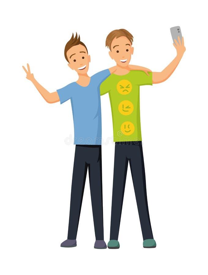 朋友做一小组selfie 在智能手机的照相机的照片 快乐的朋友摇他们的手 : 向量例证