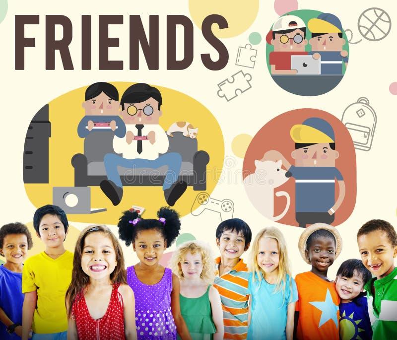 朋友友谊活动休闲概念 皇族释放例证