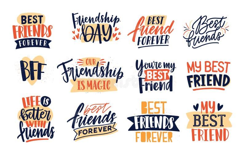 朋友和友谊的汇集引述手写与典雅的书法字体 套装饰字法或 库存例证