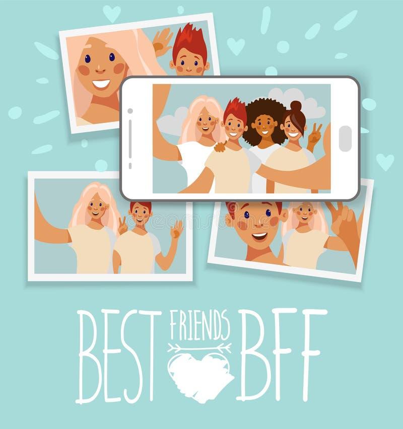 朋友和selfie照片卡片拼贴画在智能手机屏幕上 向量例证