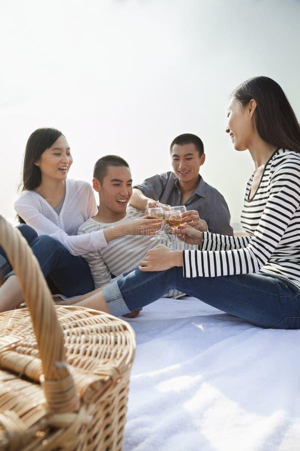 年轻朋友多士在他们的在海滩的野餐 免版税图库摄影