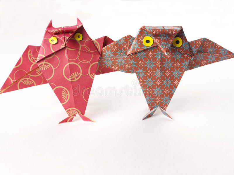 朋友好origami猫头鹰对二 免版税图库摄影