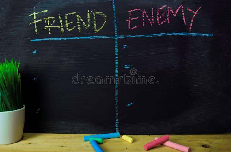 朋友或敌人写与颜色白垩概念在黑板 库存照片