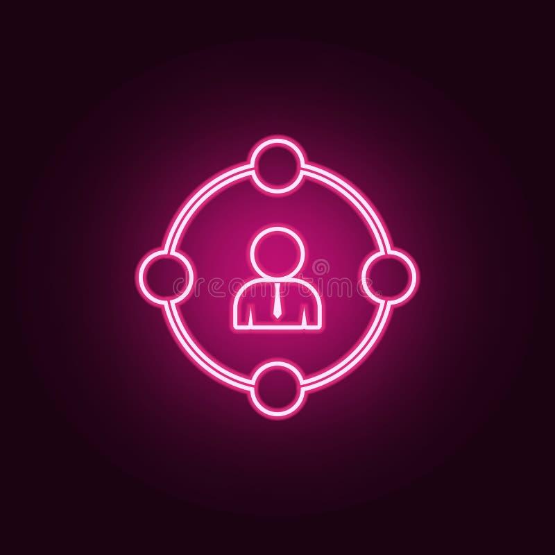 朋友象圈子  交谈和友谊的元素在霓虹样式象 网站的简单的象,网络设计,机动性 库存例证