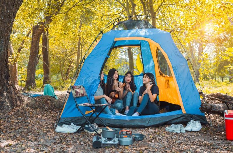 朋友野营和休息在森林的编组年轻亚裔妇女演奏尤克里里琴 库存图片