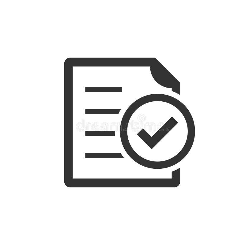 服从在平的样式的文件象 在白色被隔绝的背景的批准的处理传染媒介例证 检查号事务 库存例证