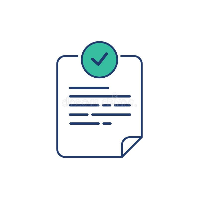 服从在平的样式的文件象 在白色被隔绝的背景的批准的处理传染媒介例证 检查号 向量例证