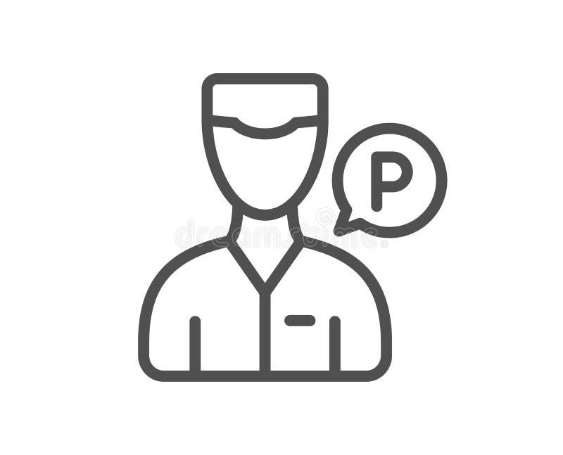 服务员仆人线象 停车处人标志 向量 向量例证