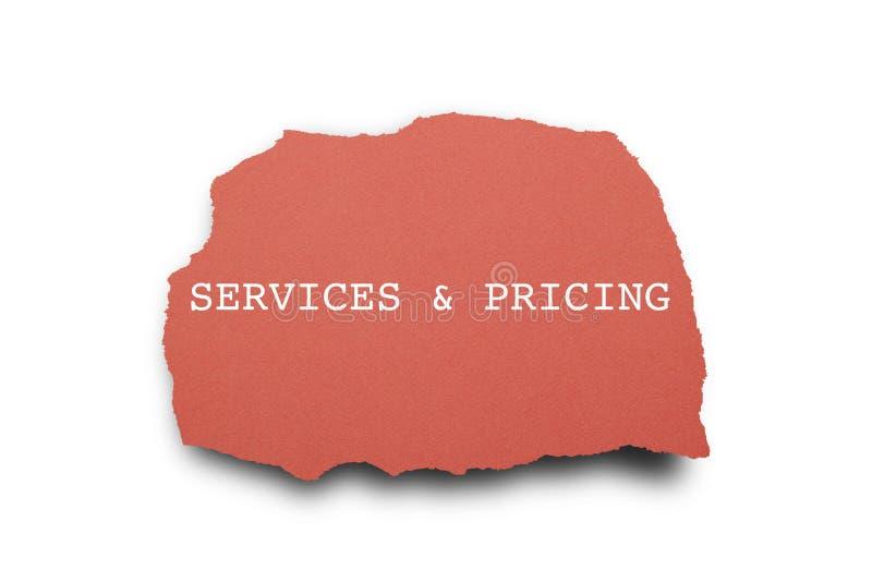 服务和定价被写在被撕毁的纸下 免版税库存图片