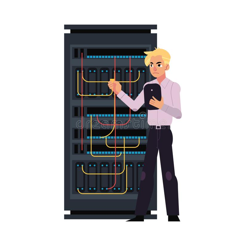 服务器与数据中心和年轻系统管理员连接的缆绳的室例证 向量例证