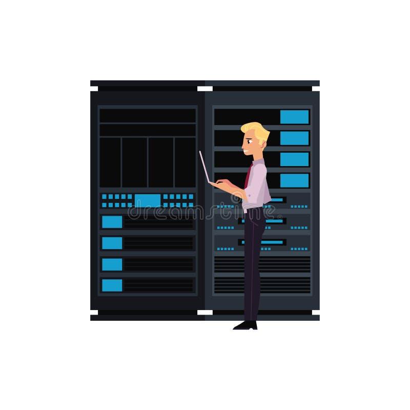 服务器与数据中心存贮和年轻人的室例证它有膝上型计算机的工程师与计算机科技一起使用 向量例证