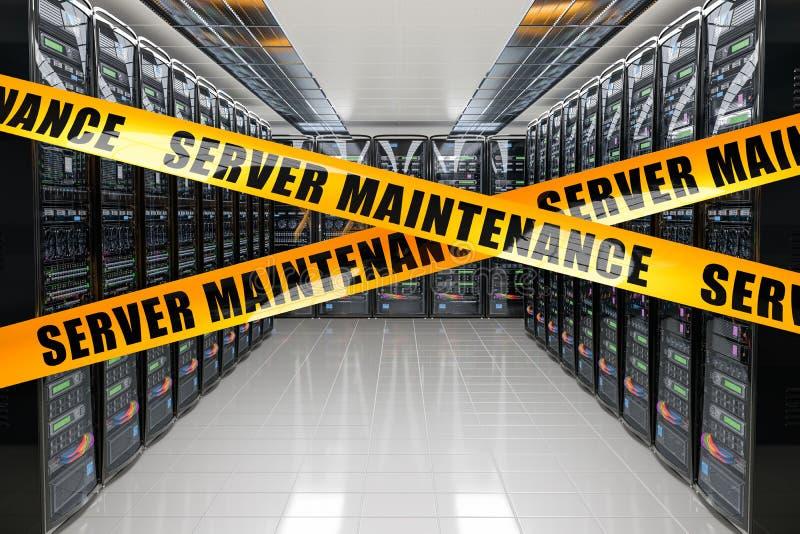 服务器保养概念 有黄色障碍磁带的,3D服务器机架翻译 皇族释放例证