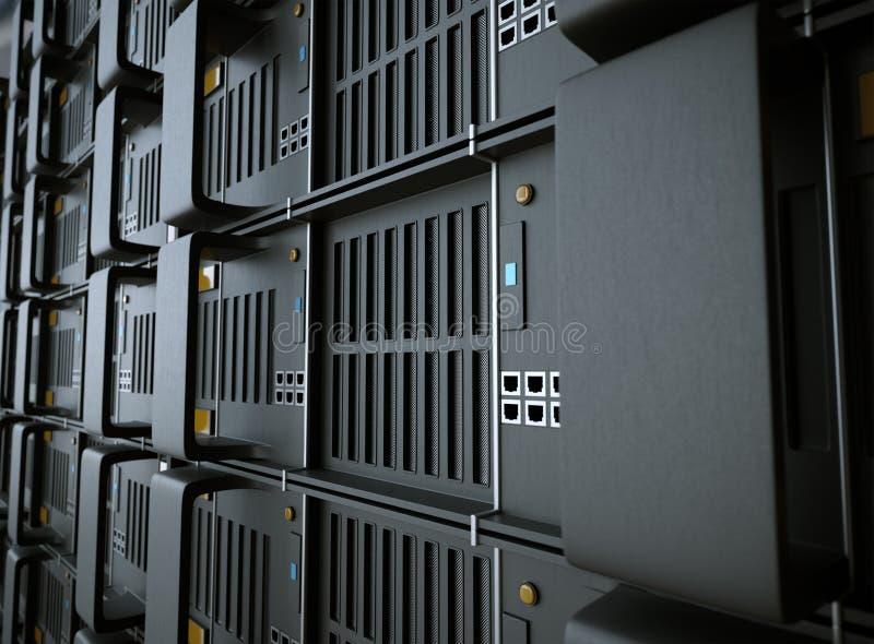 服务器和硬件室计算机科技概念照片 免版税库存图片