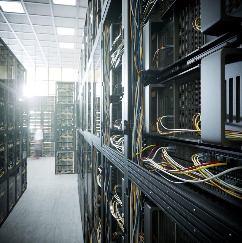 服务器和硬件室计算机科技概念照片 免版税图库摄影