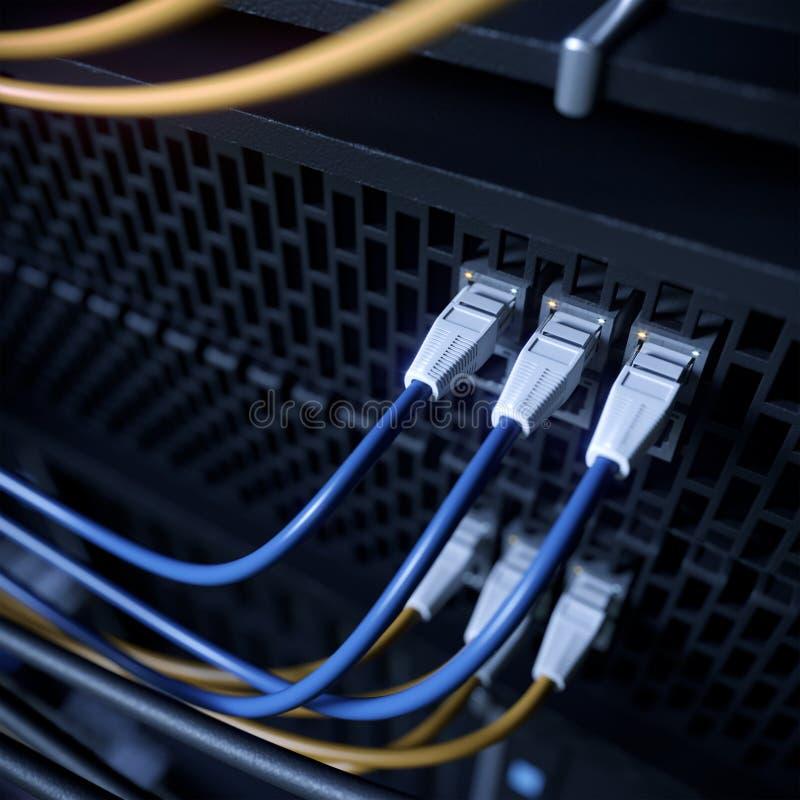 服务器和硬件室计算机科技概念照片 免版税库存照片