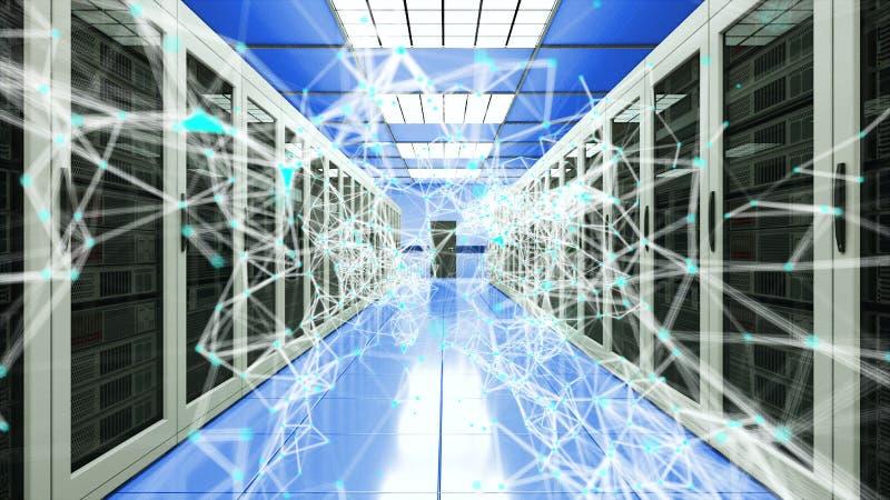 服务器在datacenter、网网络和互联网电信技术,3d的室和连接小点翻译 向量例证