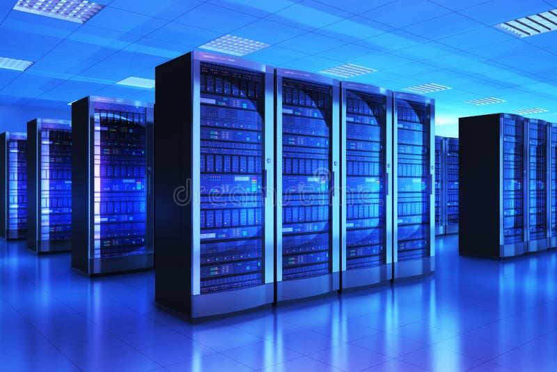 服务器在datacenter的室内部 向量例证