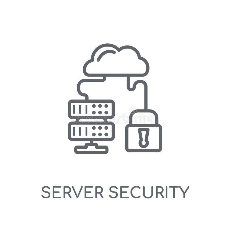 服务器安全线性象 现代概述服务器安全商标 皇族释放例证