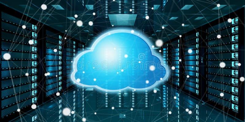 服务器室与云彩蓝色象3D翻译的数据中心 向量例证