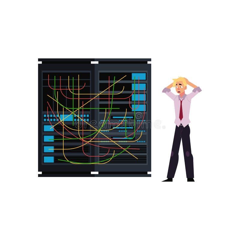 服务器室例证-与被缠结的导线和年轻系统管理员的数据中心存贮 皇族释放例证