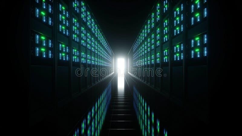 服务器室内部datacenter的 3d翻译 皇族释放例证