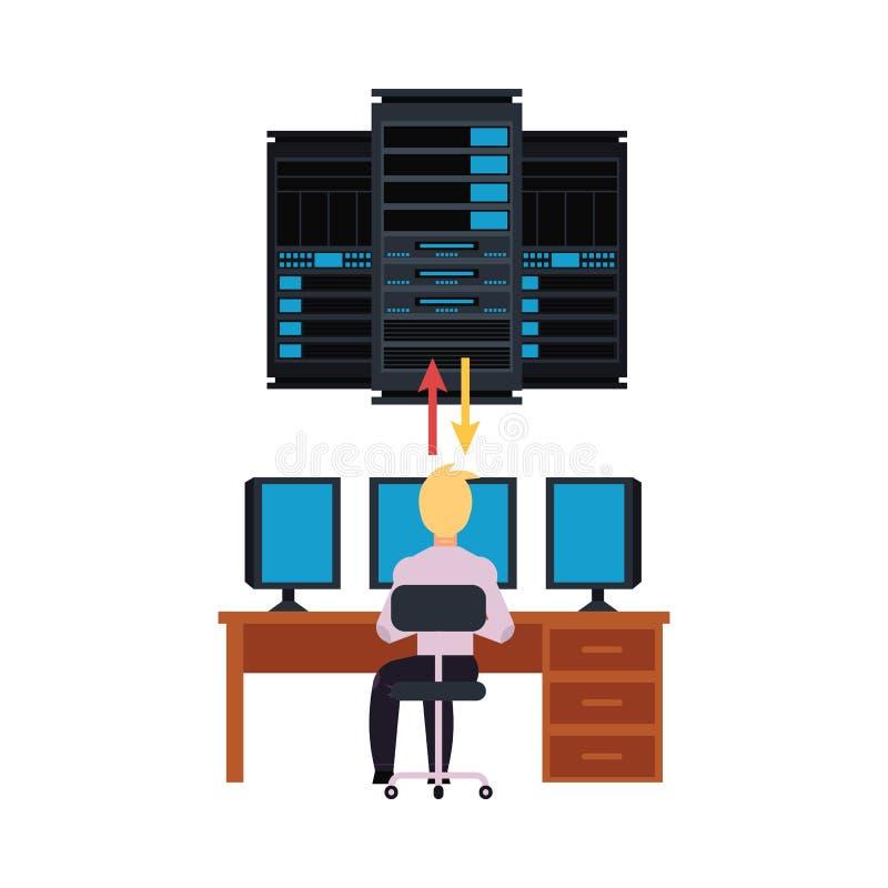 服务器室和它设计与数据中心存贮和年轻系统管理员的运作的个人计算机例证 库存例证