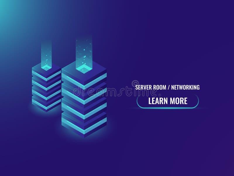 服务器室和数据库等量概念,云彩存贮,服务器室,主持的网站,数字技术,未来派 皇族释放例证