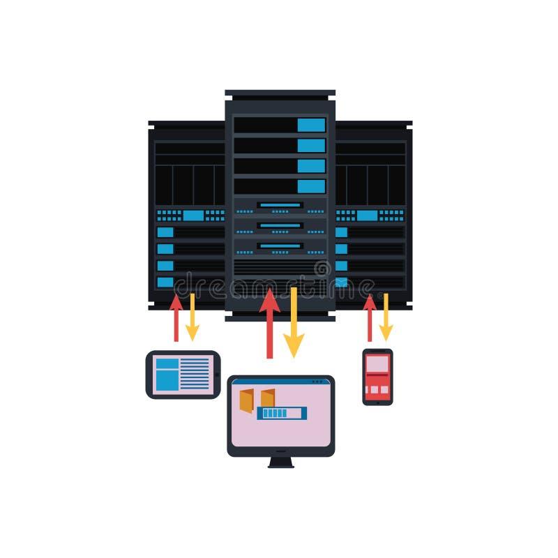 服务器室和连接与计算机techologies概念性被隔绝的例证 皇族释放例证