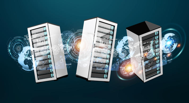 服务器室数据中心互相连接了3D翻译 皇族释放例证