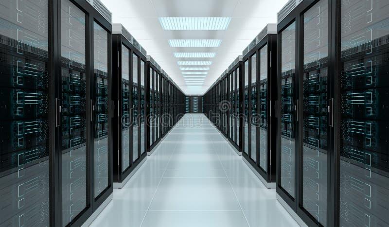 服务器室数据中心内部3D翻译 库存例证
