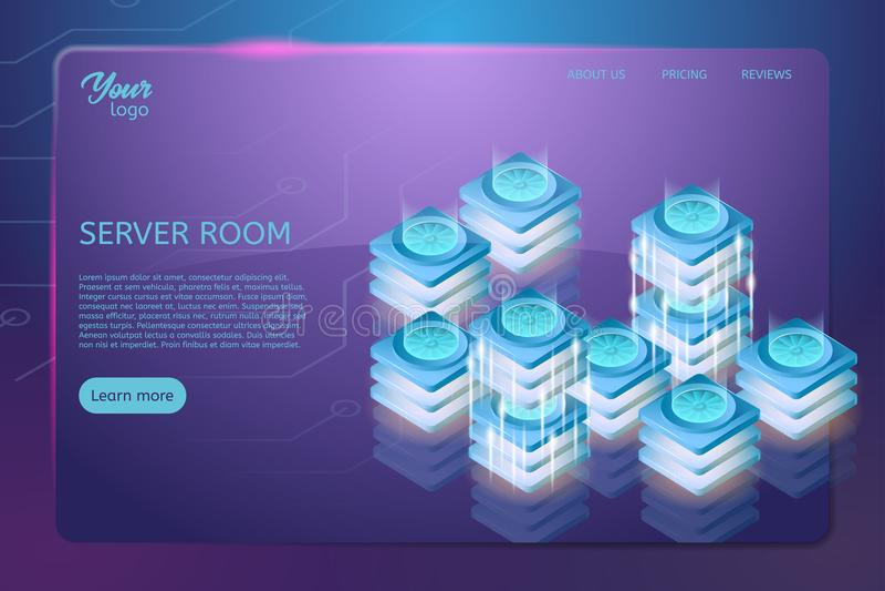 服务器室机架的概念 网络主持和数据中心等量传染媒介例证 皇族释放例证