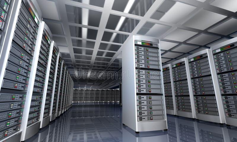 服务器室现代内部datacenter的 皇族释放例证