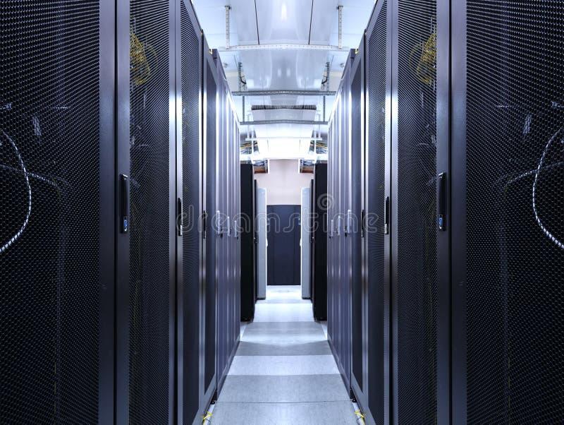 服务器室真正主机服务的数据中心网络 里面走廊与巨型计算机计算机主机和上流机架  库存图片