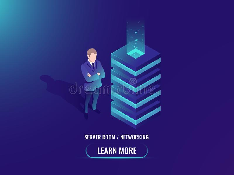 服务器室等量传染媒介,云彩存贮概念,超级计算机,大数据处理,网络主持,抽象几何 皇族释放例证