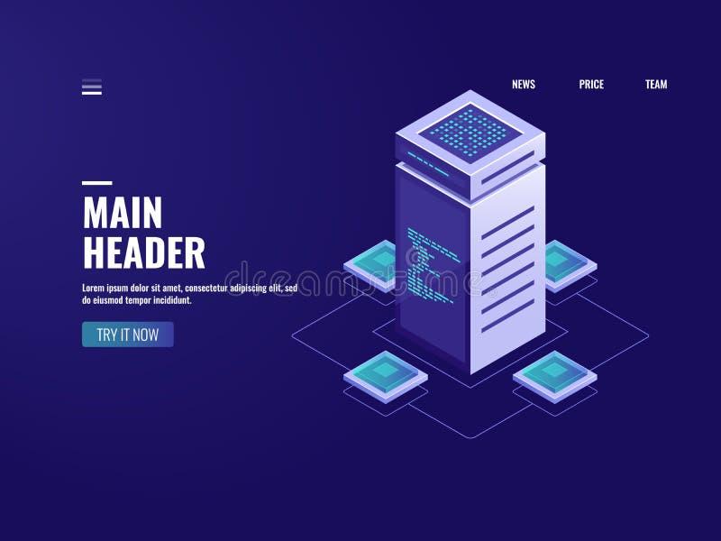 服务器室等量大数据处理、云彩存贮、blockchain技术、数据中心和数据库连接 皇族释放例证