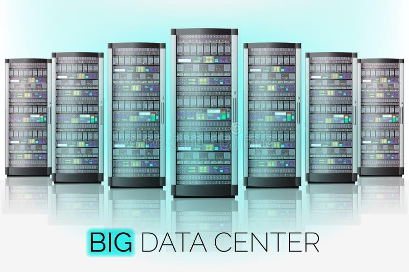 服务器室,主持大数据中心,云彩数据库技术 向量例证