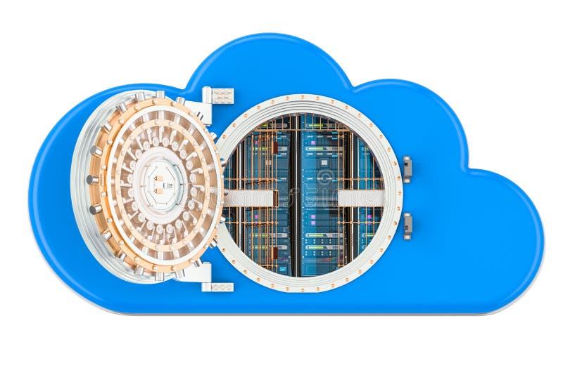 服务器机架里面计算的云彩 安全和保护co 向量例证