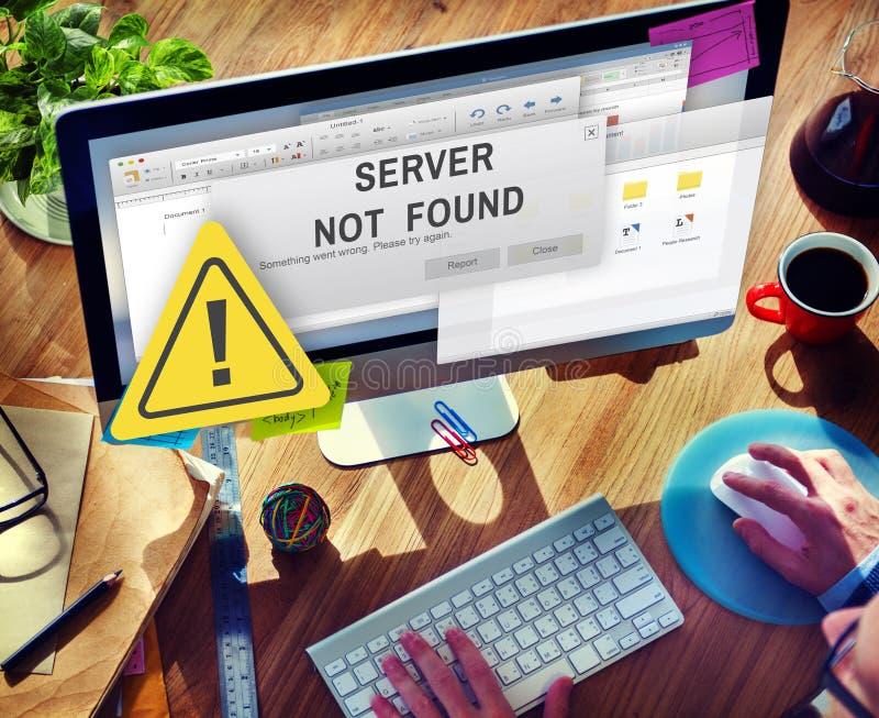 服务器没被找到的错误不能进入的概念 库存图片